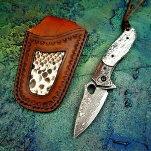 Drop Point Folding Knife Pocket Flipper Hunting Survival Tactical Damascus Steel