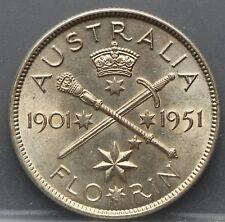"Australie  Australia 1 Florin 1951 ""50th Anniversary of Federation"" silver nice!"