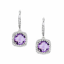 Genuine Natural Amethyst & White Topaz 925 Sterling Silver Leverback Earrings