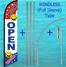 Open Welcome Windless Banner Flag + Pole Mount Kit Tall Advertising Feather Sign