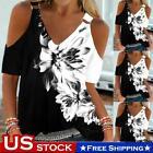 Womens Casual Cold Shoulder Short Sleeve V-Neck Black White T-Shirt Blouse Tops