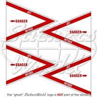 DANGER JET INTAKE RAF Flugzeug Hubschrauber 50mm Vinyl Sticker Aufkleber x4