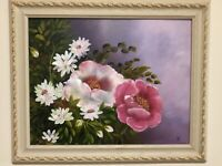 Soft floral framed oil painting, new, on canvas board. Painting by D. Schubbe.