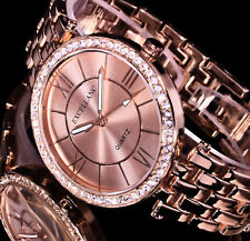 Excellanc Damen Armband Uhr Rose Gold Farben Metall Strass 16