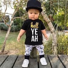 Toddler Kids Baby Boys Girls Outfits Clothes T-shirt Tops+Pants 2PCS Set