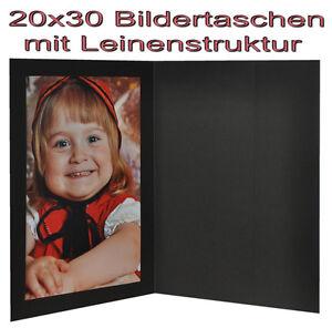 5x Portraitmappe / Leporello / Bildermappe für 20x30 mit Seitentasche in schwarz