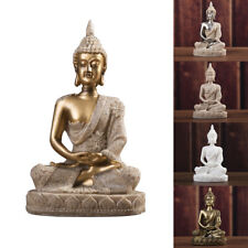 Home Decor Meditating Sitting Buddha Statue Crackle Shrine Sculpture Resin Small