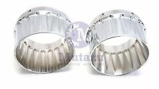 "4"" Double Fluted Billet End Tips Caps for Harley DNA Slip On Exhausts Mufflers"