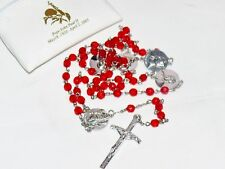 Pope John Paul II Medal Red Beaded Rosary Italy Jesus Crucifix Cross & Pouch