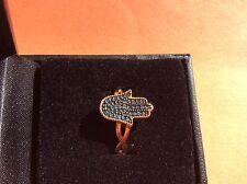 Rarities Carol Brodie 14k 925 Sterling silver 0.20ct blue diamond Hamsa ring SZ8