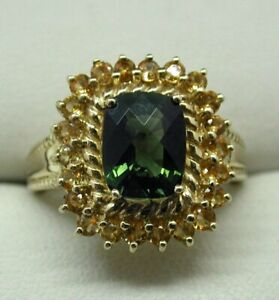Lovely 9 carat Gold Large Green And Yellow Amethyst Dress Ring Size N.1/2