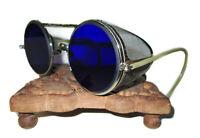 Antique Cobalt Blue Willson Sunglasses Goggles Vtg Old Steampunk Safety Glasses