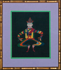 """Fab, Custom Vintage Needlepoint 'Court Jester' Framed Canvas"""