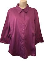 George Women's Blouse Plus 18W/20W Cotton 3/4 Sleeve Button Down Shirt
