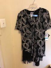 New R & M Richard Long Tunic And Midi Skirt 2 Pcs Set Size 16 Black/Ivory Color