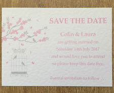 50 Personalised Vintage Save The Date Wedding cards - butterfly & birdcage #2