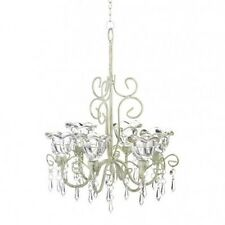 Crystal Chandelier Candle Holder Distressed Ivory Metal Brilliant Glass Flower