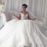 Off-Shoulder White/Ivory Ball Gown Wedding Dresses Lace Bridal Gowns Custom Size