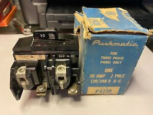 ITE P4230 30 AMP 120/240 VOLT 2-POLE PUSHMATIC BREAKER..FOR 3 PHASE ONLY-NOS