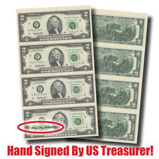 $2 Bills! Hand-Signed 4-Note Sheet-by Treasurer Mary Ellen Withrow (#10134)