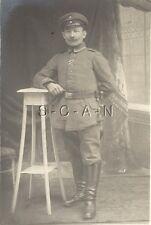 WWI German Real Photo PC- Soldier- Uniform- Hat- Bayonet- Frog- Pommel- 1914-18