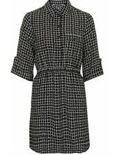 TOPSHOP black check plaid shirt dress size 8 euro 36