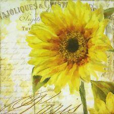 3 x Single Paper Napkins Decoupage Craft Tissue Sunflower Script Flowers M222