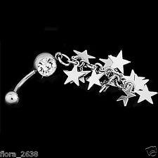 PIERCING NOMBRIL, acier chirurgical, strass transparent, étoile bijoux fantaisie