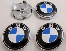BMW Hub Alloy Wheel Centre Caps.Set of 4. Fit E90 E60 E61 E34 X3 X5 BLUE 68mm
