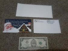 Santa Dollar Crisp $2 Dollar Bill w/ Card & Envelope Real Money FREE SHIPPING