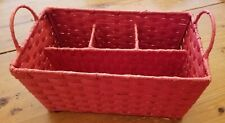 Red 4-Section Woven Basket-Picnic or Tailgate Utensil 
