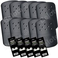 Zippo Set of 10 BLACK Refillable Hand Warmers and 5 Burners 40310 40334 44003