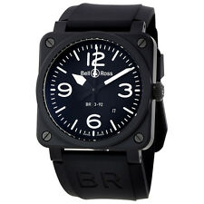 Bell and Ross Aviation Automatic Black Dial Black Rubber Mens Watch BR0392-BL-CE