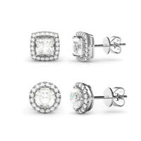 5.44 CTTW Halo Stud Earrings Made with Swarovski Elements (2 Pairs)