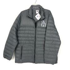 Majestic LA Dodgers Grey Down Filled Puffer Nylon Full Zip Logo Jacket Size XL