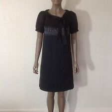 AEFFE SPA - Charcoal Wool Dress Black Mesh Neckline Silver Stitch Detail UK 8