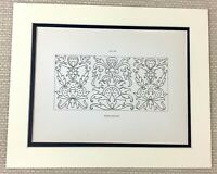 1842 Antique Print 17th Century Needlework Ornate Embroidery Panel Sewing Art