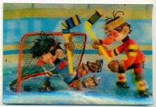 """1987 USSR Russian Soviet Multfilm """"Hockey Players"""" Stereo Pocket Calendar"""