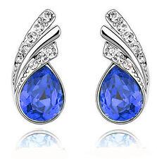 Royal Dark Blue Crystal Angel Wings Silver Studs Earrings Rhinestone E588
