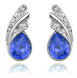 Medium Royal Blue Earrings Silver Studs for Women Lady Jewellery E588