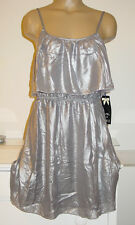 Ali & Kris shiny silver gray dress tiered layers holiday party lined sissy-M-NWT
