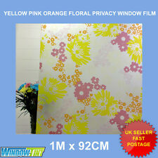YELLOW PINK ORANGE FLORAL FROSTED PRIVACY WINDOW FILM - 92cm x 1m Roll M006