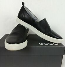 ECCO GILLIAN BLACK LEATHER CAUSAL SLIP ON LOAFER SHOES WOMENS 39/US 8-8.5