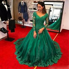 Green Long Sleeves Formal Evening Dresses Beaded Lace Appliques Girl Ball Gowns