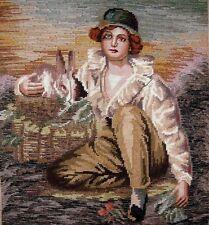 """EP 10547 Vintage Bucilla """"Boy & Rabbit"""" Tramme Needlepoint Canvas 16.5""""X18.5"""""""
