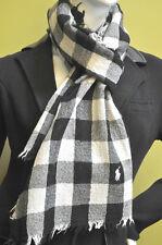 Polo Ralph Lauren Womens Black Cream Plaid Wool White Pony Scarf