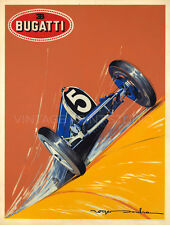 Bugatti 1924 Vintage Racing Automobile Art Deco Giclee Canvas Print 30x40