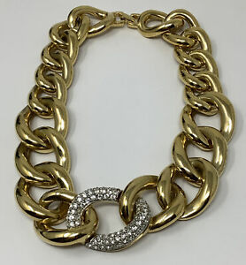 """Givenchy Chunky Gold-tone Link Rhinestone Statement Necklace 17"""" (225 g.) (B)"""
