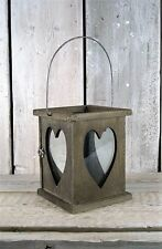 Rustic Wooden Lantern Hanging Heart Candle Tea Light Holder Wedding Decoration