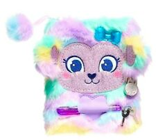 HOT!💞SMIGGLE Plush Furry Scented Lockable Diary Journal 🌈Pastel Rainbow Bear